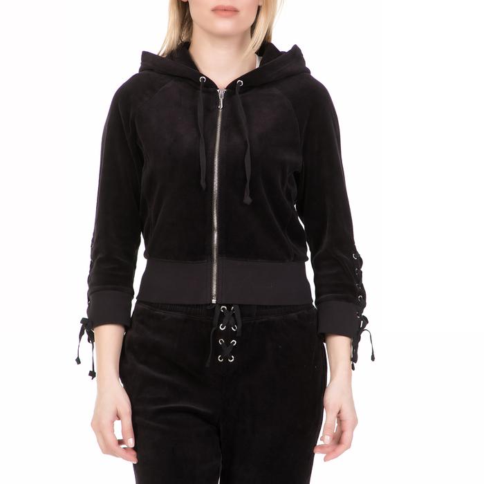 JUICY COUTURE - Γυναικεία ζακέτα με κουκούλα JUICY COUTURE μαύρη