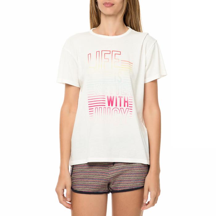 JUICY COUTURE - Γυναικεία κοντομάνικη μπλούζα JUICY COUTURE KNT LIFE IS BETTER λευκή
