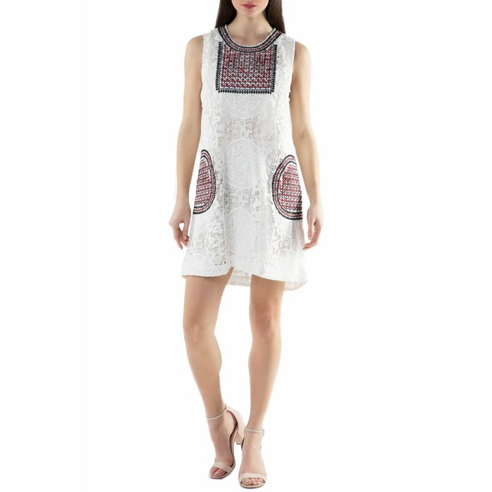 MOLLY BRACKEN - Γυναικείο μίνι φόρεμα Molly Bracken λευκό με δαντέλα