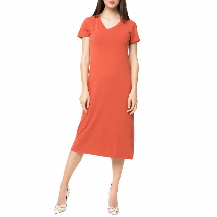 AMERICAN VINTAGE - Γυναικείο midi φόρεμα ENA36TVE17 AMERICAN VINTAGE κεραμιδί