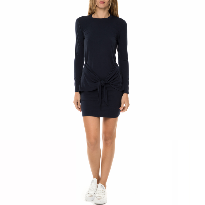 JUICY COUTURE - Γυναικείο μίνι φόρεμα KNT FRONT TIE LONG SLEEVE KNIT μπλε