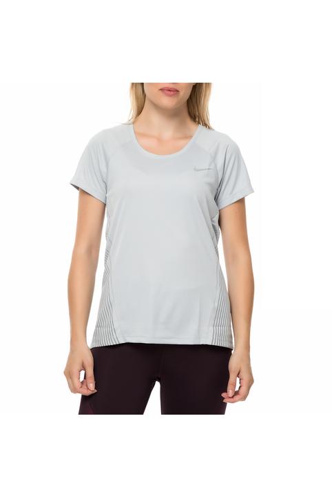 NIKE - Γυναικεία κοντομάνικη μπλούζα DRY MILER TOP SS FLSH GX γκρι