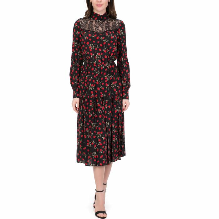 JUICY COUTURE - Γυναικείο midi φόρεμα STRAWBERRY FIELDS JUICY COUTURE μαύρο