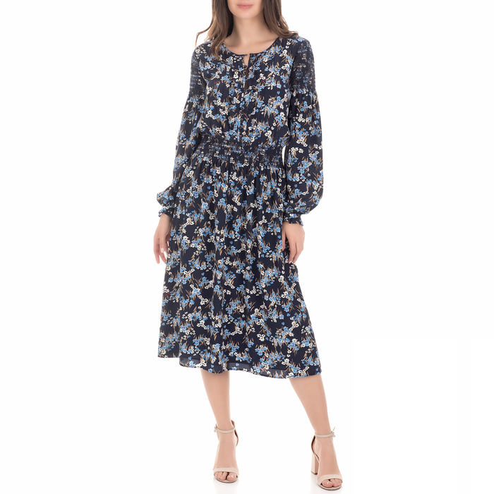 JUICY COUTURE - Γυναικείο midi φόρεμα SW ASTER FIELDS SILK μπλε