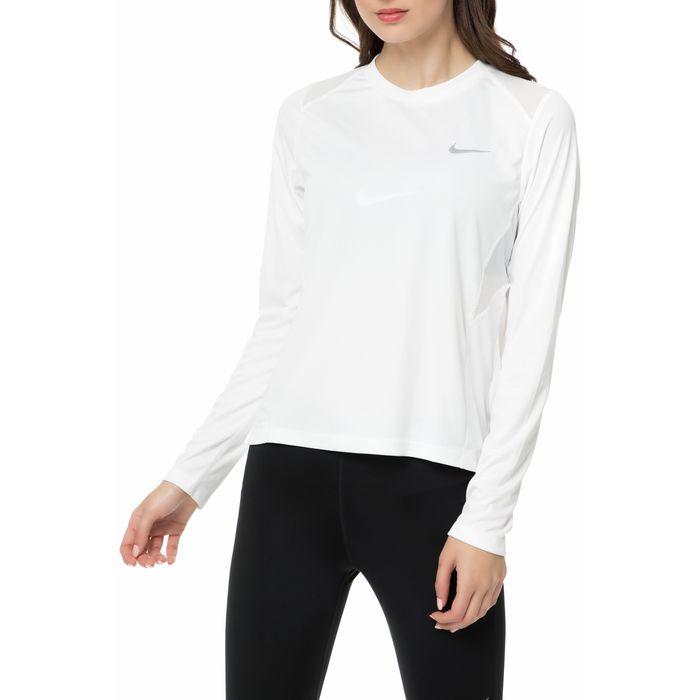 NIKE - Γυναικεία μακρυμάνικη μπλούζα NIKE MILER TOP LS λευκή