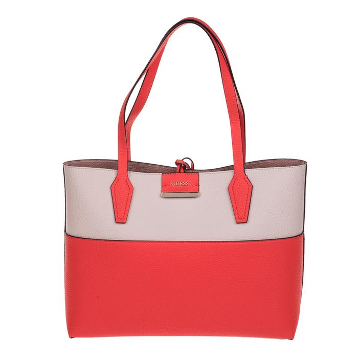 GUESS - Γυναικεία τσάντα ώμου διπλής όψεως GUESS BOBBI INSIDE OUT λευκή-κόκκινη