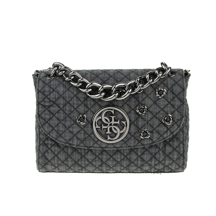 GUESS - Γυναικεία καπιτονέ τσάντα χειρός GUESS LUX μαύρη