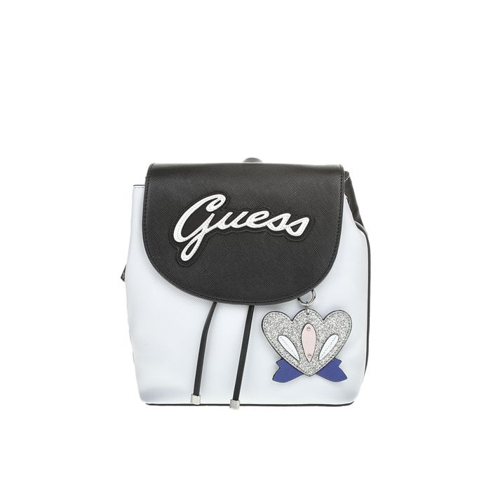 GUESS - Γυναικείο σακίδιο πλάτης Guess VARSITY POP PIN UP ασπρόμαυρο