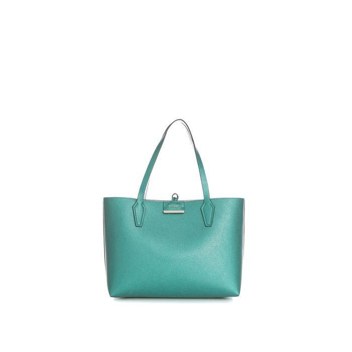 GUESS - Γυναικεία τσάντα ώμου διπλής όψης Guess BOBBI INSIDE OUT TOTE ασημί-πετρόλ