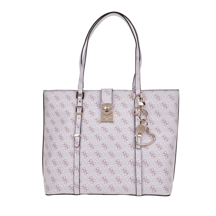 GUESS - Γυναικεία τσάντα ώμου GUESS JOSLYN TOTE λευκή με print