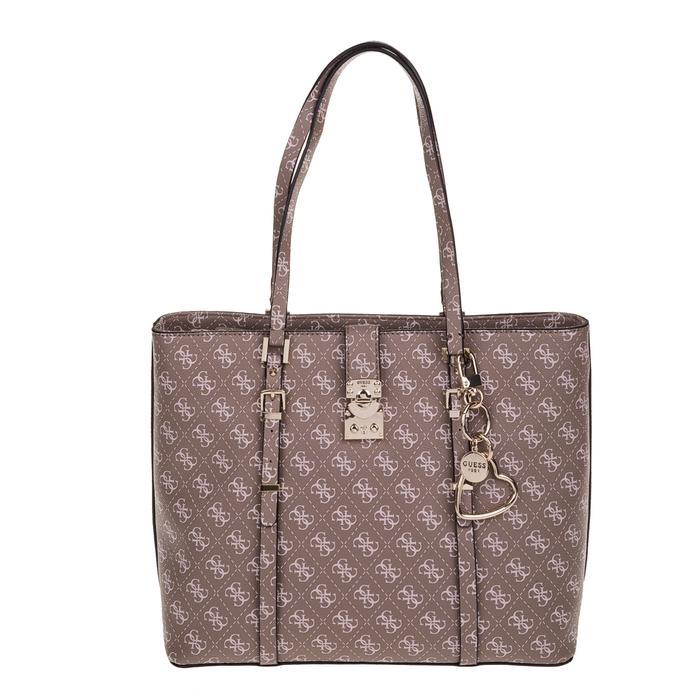 GUESS - Γυναικεία τσάντα ώμου GUESS JOSLYN καφέ με print