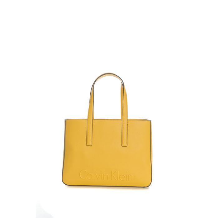 CALVIN KLEIN JEANS - Γυναικεία τσάντα χειρός Calvin Klein Jeans EDGE MEDIUM SHOPPER κίτρινη