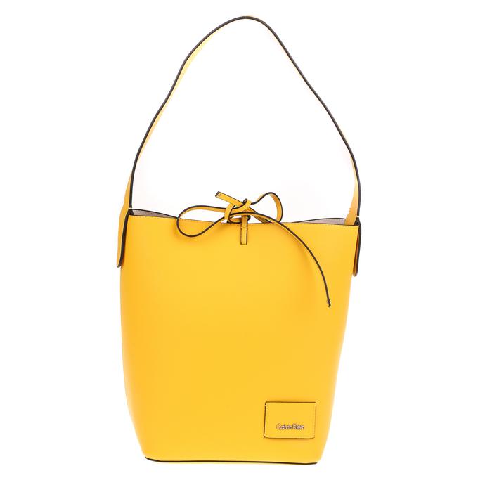 CALVIN KLEIN JEANS - Γυναικεία τσάντα ώμου Calvin Klein Jeans REVERSIBLE BUCKET κίτρινη-μπεζ