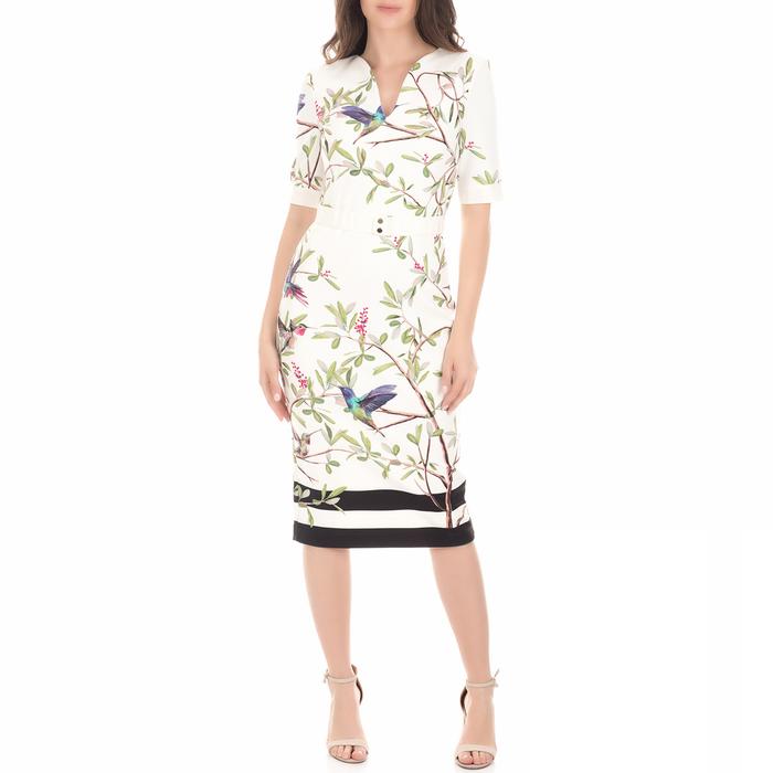 TED BAKER - Γυναικείο φόρεμα Ted Baker EVRELY HIGHGROVE λευκό