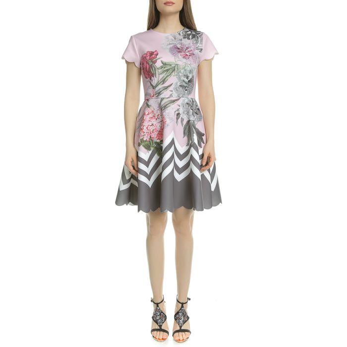 TED BAKER - Γυναικείο μίνι φόρεμα κλος TED BAKER HAIILIE PALACE GARDENS ροζ φλοράλ