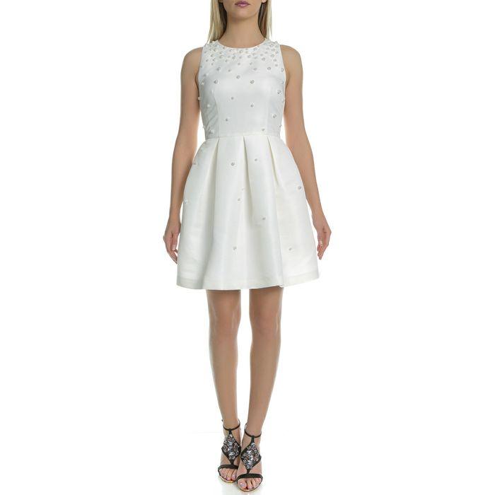 TED BAKER - Γυναικείο μίνι φόρεμα με πέρλες MILLIEA EMBELLISHED SKATER λευκό
