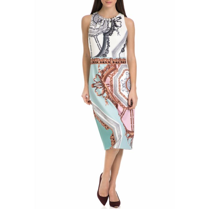 TED BAKER - Γυναικείο μίντι φόρεμα ORLLA VERSAILLES CONTRAST RUCHED με μοτίβο