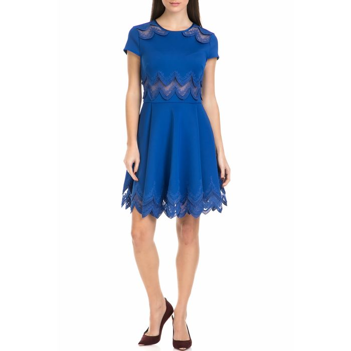 TED BAKER - Γυναικείο μίνι φόρεμα REHANNA EMBROIDERED CAP SKATER μπλε