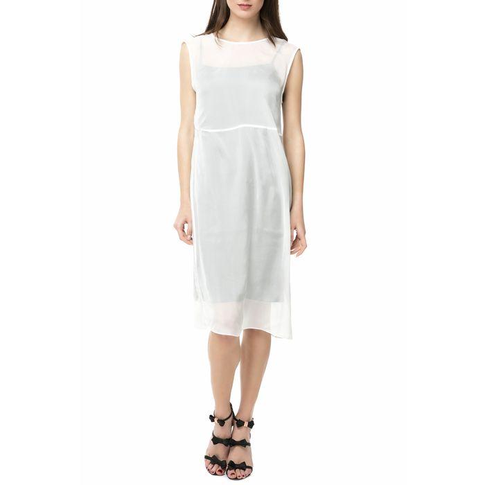CALVIN KLEIN JEANS - Γυναικείο μίντι φόρεμα DIVINA DOUBLE LAYER λευκό-μαύρο