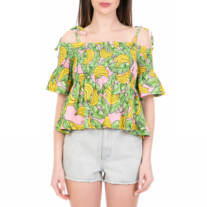 JUICY COUTURE - Γυναικεία off the shoulders μπλούζα BANANA PRINT JUICY COUTURE ροζ