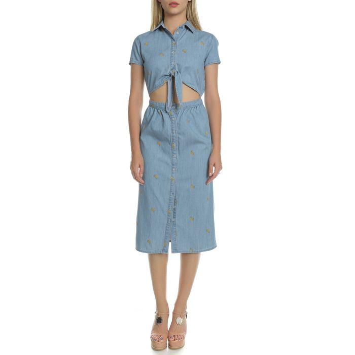 JUICY COUTURE - Γυναικείο ντένιμ φόρεμα JUICY COUTURE BANANA PRINT CHAMBRAY γαλάζιο