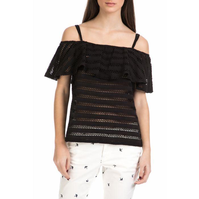 GARCIA JEANS - Γυναικεία off shoulder μπλούζα Garcia Jeans μαύρη