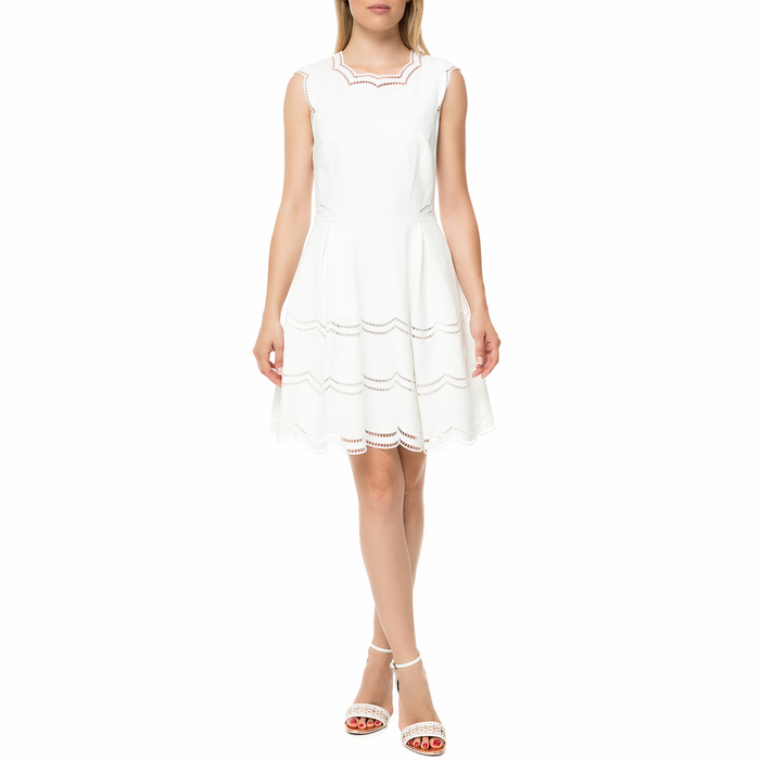 TED BAKER - Γυναικείο μίνι φόρεμα TED BAKER CAMMEY EMBROIDERED TIERED εκρού