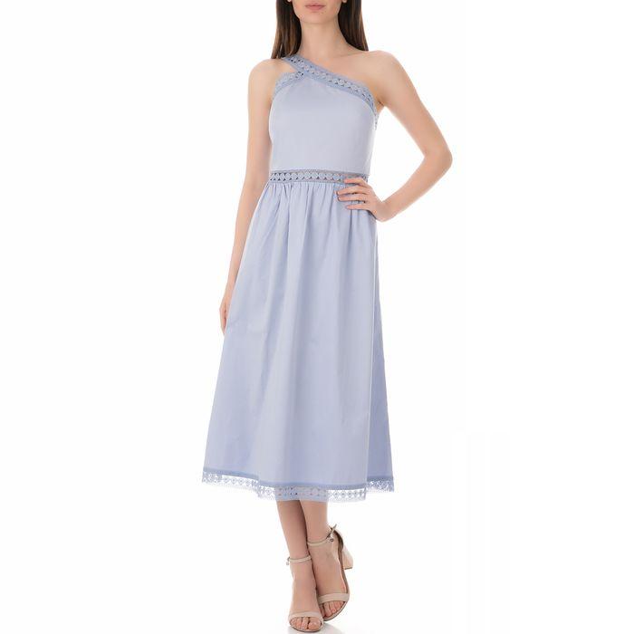 TED BAKER - Γυναικείο φόρεμα TED BAKER KALLII ASYMMETRIC COTTON MIDI μπλε