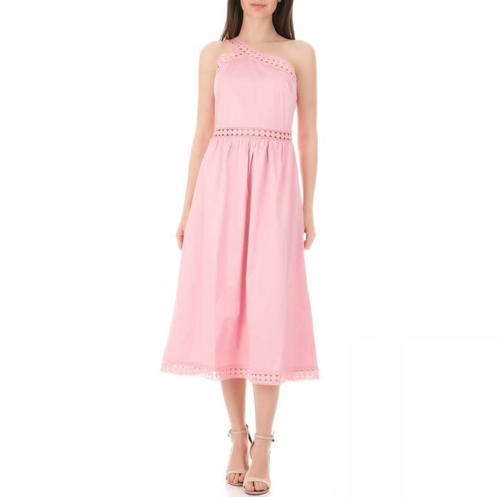 TED BAKER - Γυναικείο φόρεμα TED BAKER KALLII ASYMMETRIC COTTON MIDI ροζ