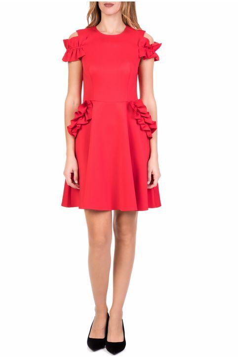 TED BAKER - Γυναικείο μίνι κλος φόρεμα TED BAKER DENEESE RUFFLE DETAIL κόκκινο