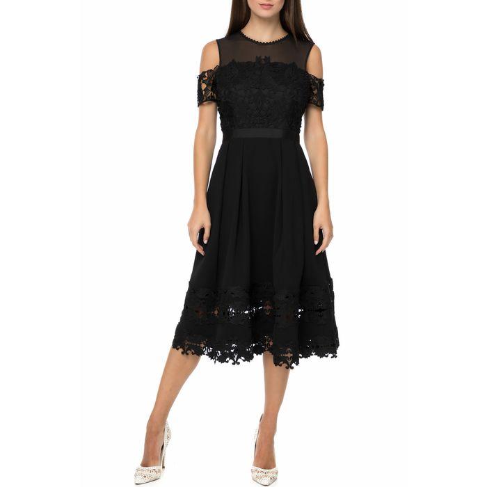TED BAKER - Γυναικείο midi φόρεμα TED BAKER NACII STRUCTURED μαύρο με δαντέλα