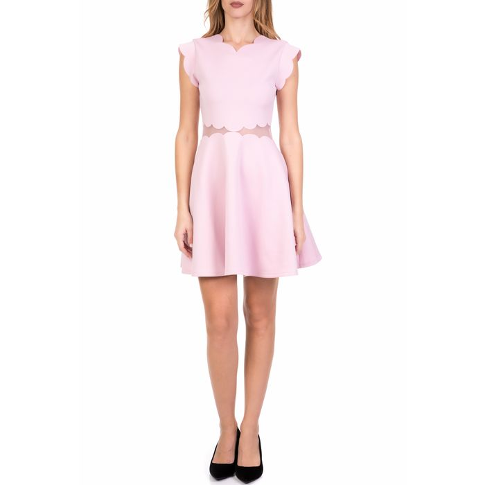 TED BAKER - Γυναικείο μίνι κλος φόρεμα TED BAKER OMARRIA MESH AND SCALLOP ροζ