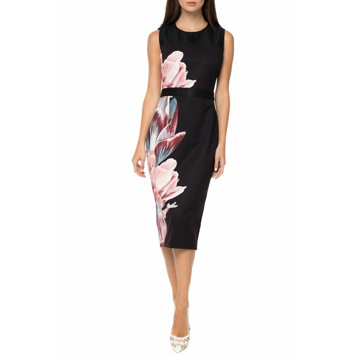 TED BAKER - Γυναικείο midi pencil φόρεμα TED BAKER XANADU TRANQUILITY SHEER μαύρο με φλοράλ
