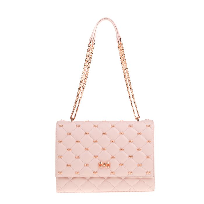 TED BAKER - Γυναικεία τσάτα ώμου BRIIANA BOW QUILTED TED BAKER ροζ