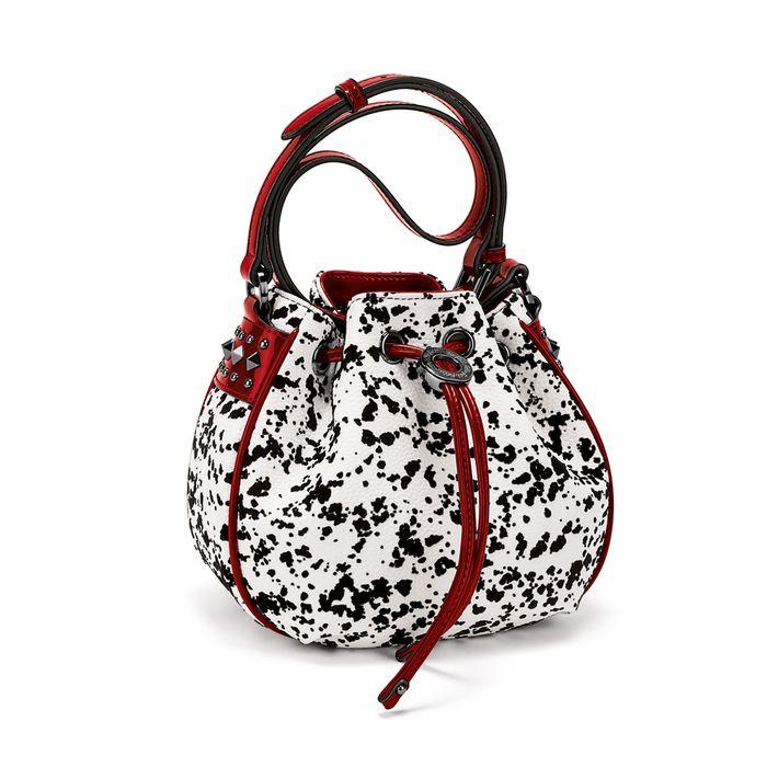FOLLI FOLLIE - Γυναικεία τσάντα ώμου FOLLI FOLLIE ασπρόμαυρη - κόκκινη