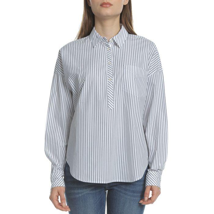 SCOTCH & SODA - Γυναικεία μακρυμάνικη πουκαμίσα SCOTCH & SODA Boxy fit λευκό-μπλε με ρίγες