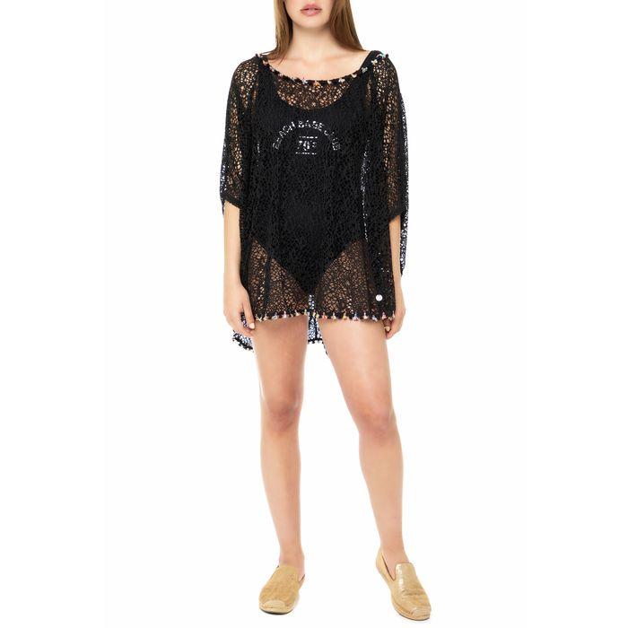 BANANA MOON - Γυναικείο beachwear μίνι φόρεμα CORAL SEETHROUG μαύρο