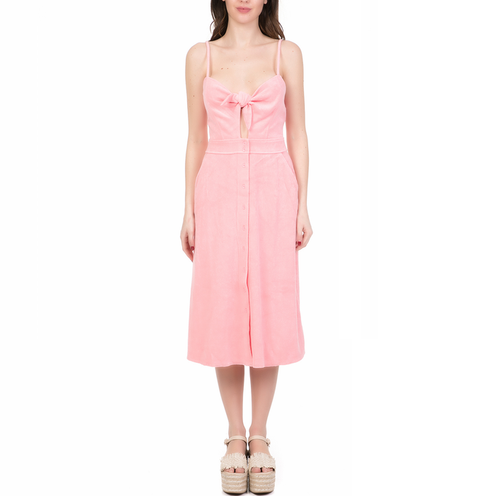 JUICY COUTURE - Γυναικείο midi φόρεμα MICROTERRY TIE FRONT JUICY COUTURE ροζ
