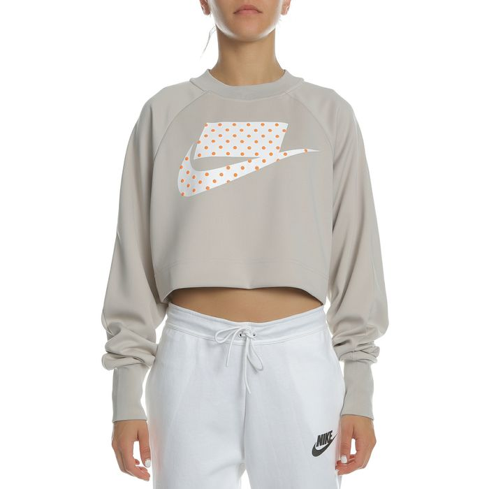 NIKE - Γυναικεία μπλούζα φούτερ NIKE NSW CREW CROP PK μπεζ