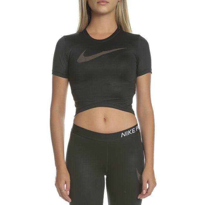 NIKE - Γυναικεία κοντομάνικη μπλούζα TOP SS CROP MTLC GRX μαύρη