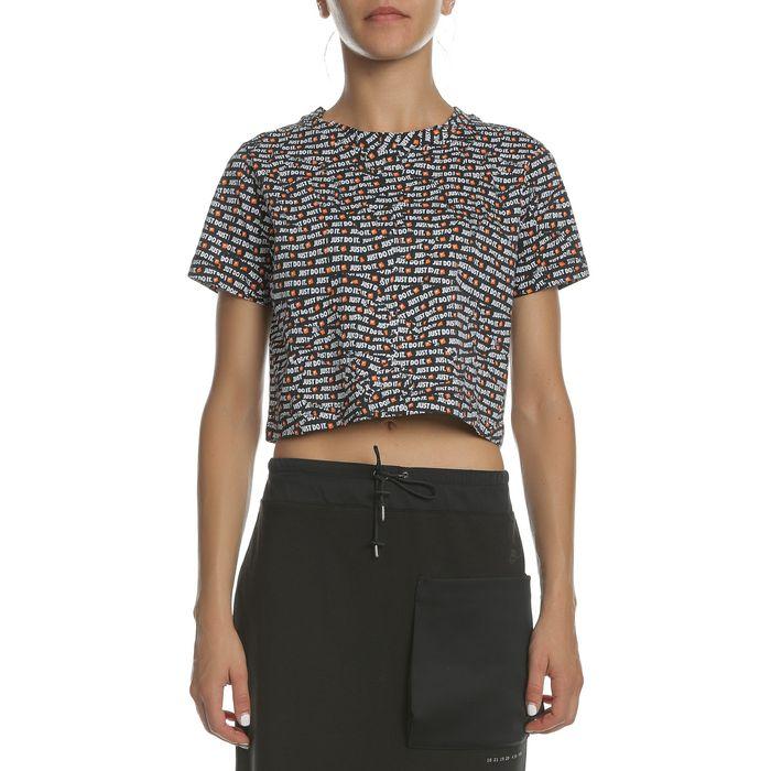 NIKE - Γυναικεία κοντομάνικη μπλούζα NIKE NSW TOP SS CROP JDI με print