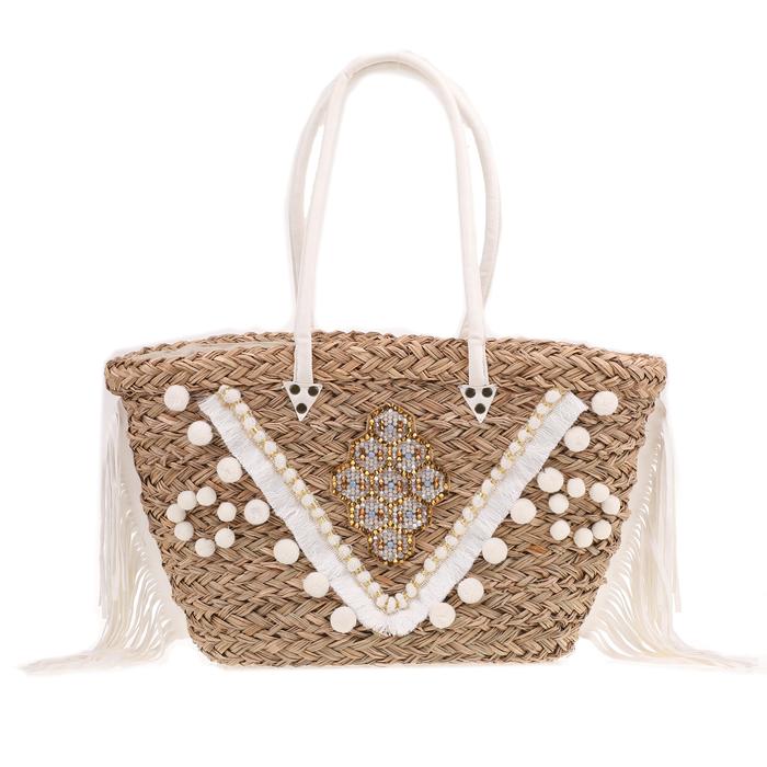 HIPANEMA - Γυναικεία ψάθινη τσάντα HIPANEMA μπεζ-λευκή
