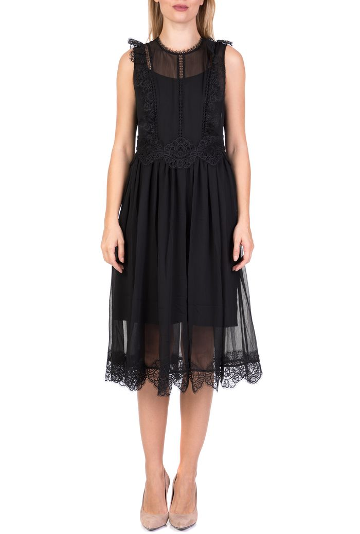 TED BAKER - Γυναικείο αμάνικο midi φόρεμα TED BAKER PORRLA FRILL μαύρο με δαντέλα