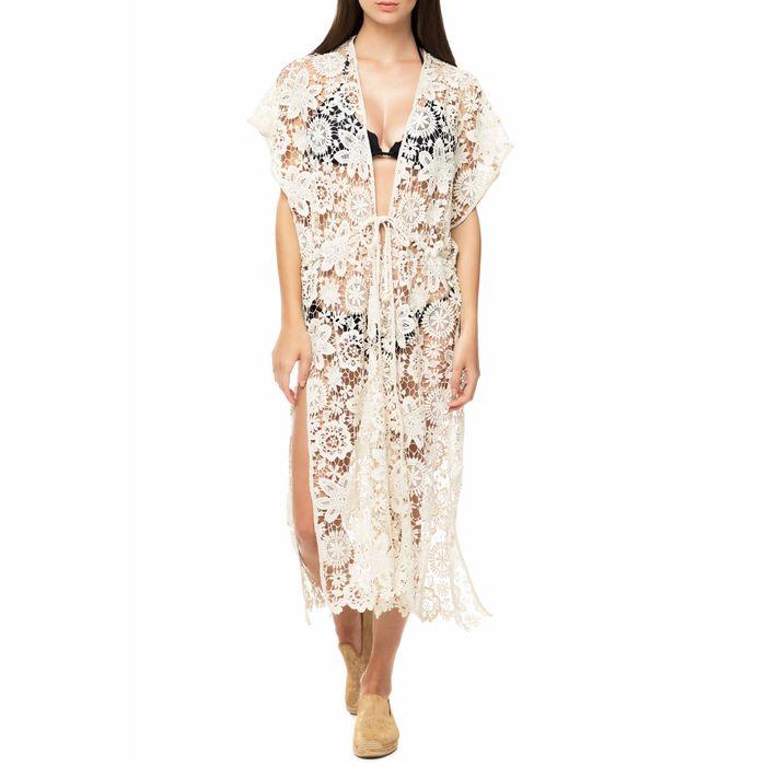 ECHO - Γυναικείο φόρεμα παραλίας ECHO STAR CORAL λευκό