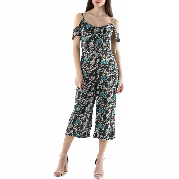 FUNKY BUDDHA - Ολόσωμη φόρμα FUNKY BUDDHA μαύρη με φλοράλ μοτίβο