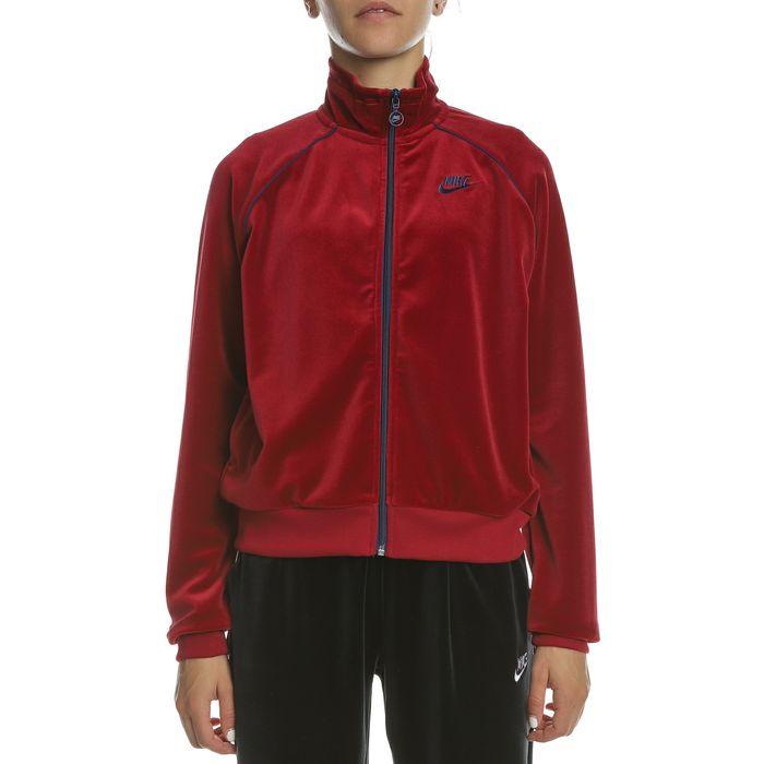 NIKE - Γυναικεία ζακέτα NIKE Sportswear Track Velour μπορντό