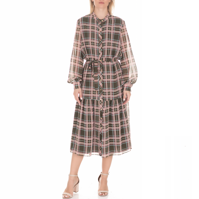 JUICY COUTURE - Γυναικείο μίντι φόρεμα JUICY COUTURE PLAID καρό χακί ροζ