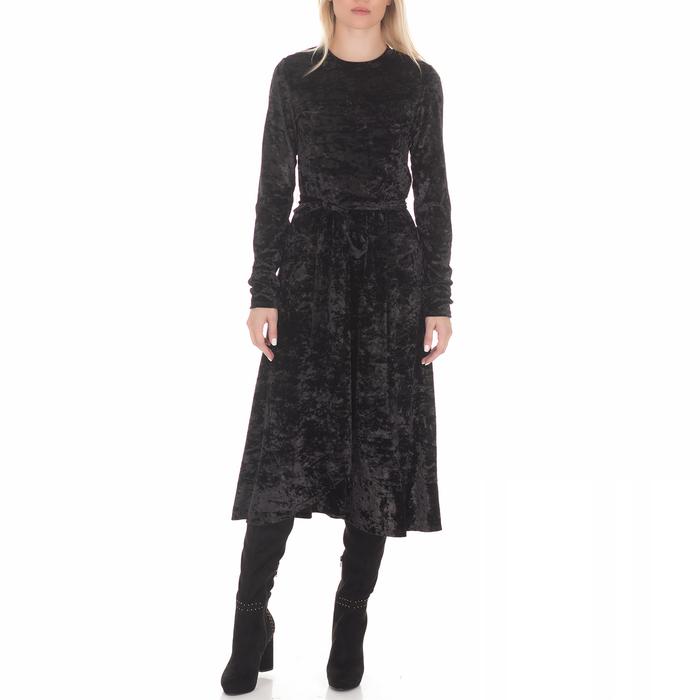 JUICY COUTURE - Γυναικείο μίντι φόρεμα JUICY COUTURE CRUSHED VELVET μαύρο