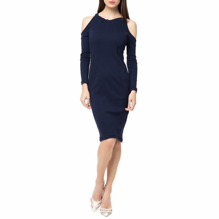 FOUR ANGELS - Γυναικείο midi φόρεμα rib με ανοιχτούς ώμους FOUR ANGELS μπλε σκούρο