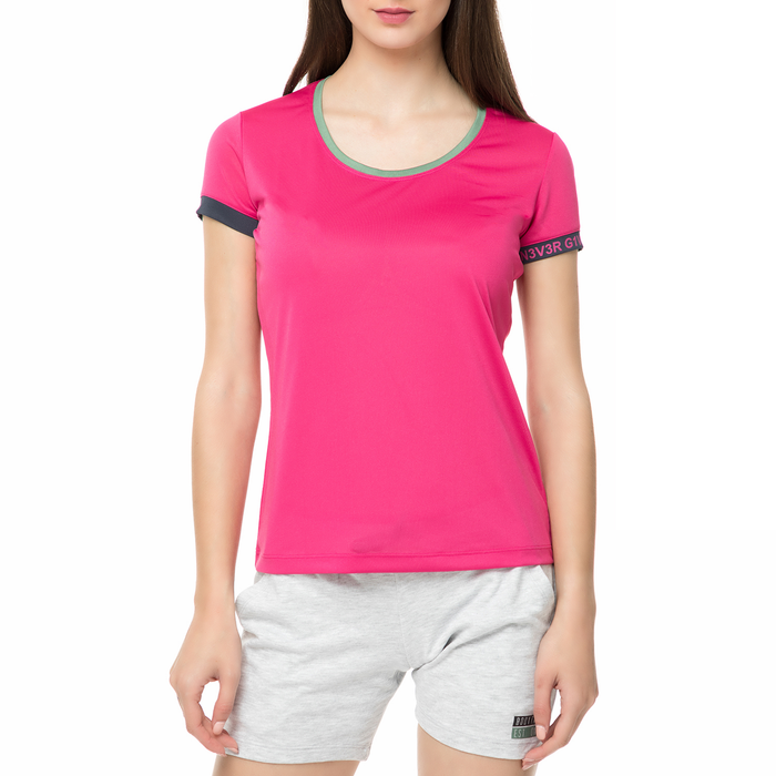 BODYTALK - Γυναικεία κοντομάνικη μπλούζα NEVERGIVEUPW φούξια